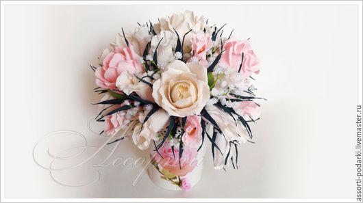 Персональные подарки ручной работы. Ярмарка Мастеров - ручная работа. Купить Букет из конфет Розы в кашпо. Handmade. Бледно-розовый