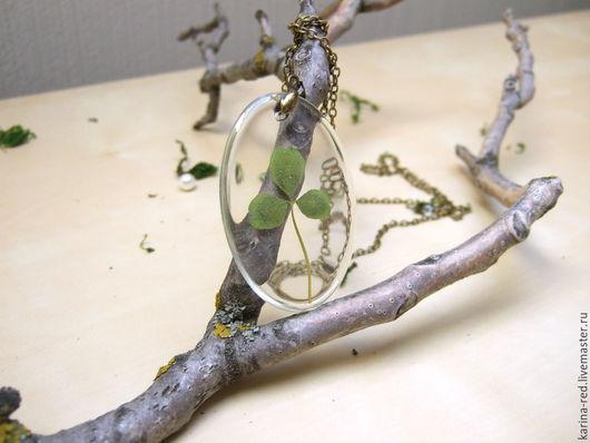 купить интересный прозрачный бохо эко кулон с настоящим листиком клевера трилистник патрик ирландия