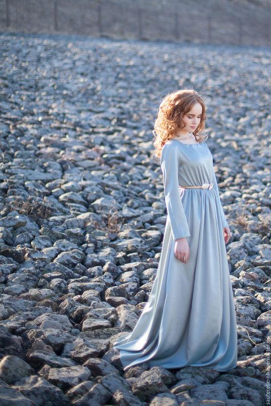 Платья ручной работы. Ярмарка Мастеров - ручная работа. Купить Платье Grey. Handmade. Серый, красивое платье, серый атлас