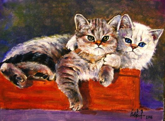 Животные ручной работы. Ярмарка Мастеров - ручная работа. Купить Котята.. Handmade. Комбинированный, котята, Кошки, подарок девушке