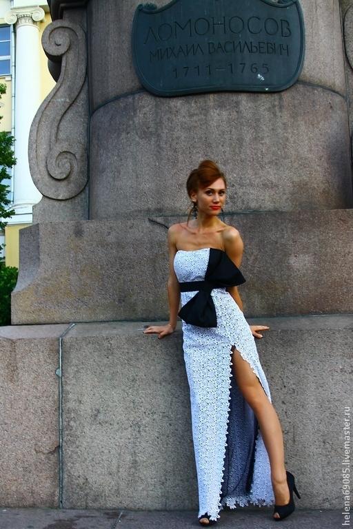 Платья ручной работы. Ярмарка Мастеров - ручная работа. Купить Платье кружевное. Handmade. Чёрно-белый, Платье нарядное, кружево