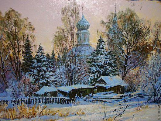 """Пейзаж ручной работы. Ярмарка Мастеров - ручная работа. Купить """"Зимний вечер"""". Handmade. Зима, картина в прихожую"""