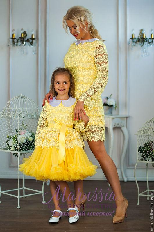 Платья ручной работы. Ярмарка Мастеров - ручная работа. Купить Платье кружевное- БЛ-43. Handmade. Желтый, Платье нарядное