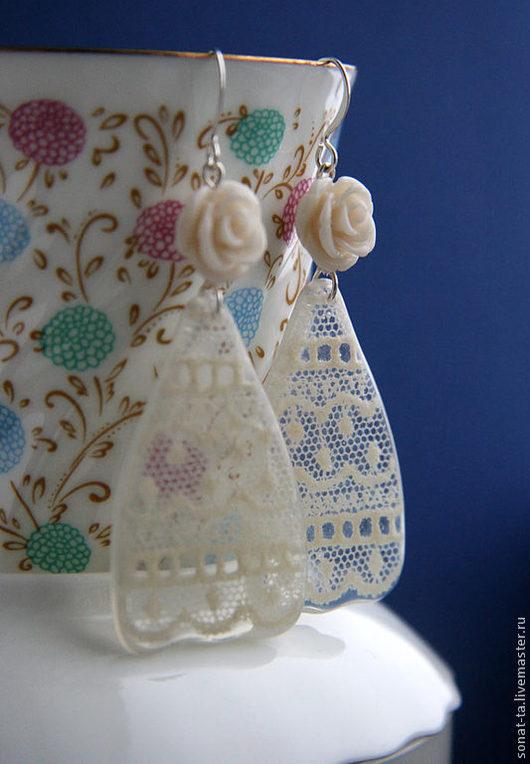 """Серьги ручной работы. Ярмарка Мастеров - ручная работа. Купить Кружевные серьги """"Принцесса"""". Handmade. Белый, подарок, пастельные тона"""