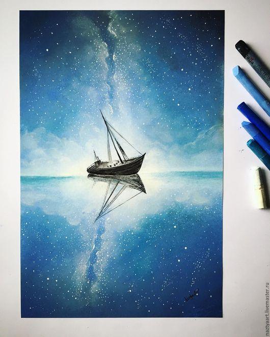 Фантазийные сюжеты ручной работы. Ярмарка Мастеров - ручная работа. Купить Картина. Handmade. Тёмно-синий, корабль, небо, звезды