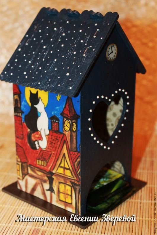 Кухня ручной работы. Ярмарка Мастеров - ручная работа. Купить Чайный домик Кошки на крыше. Handmade. Тёмно-синий