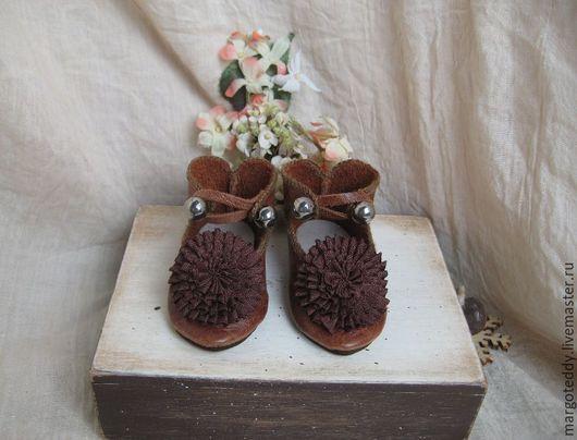 Одежда для кукол ручной работы. Ярмарка Мастеров - ручная работа. Купить Туфли кожаные для BEBE Jumeau. Handmade. Коричневый