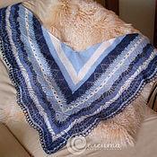 """Аксессуары ручной работы. Ярмарка Мастеров - ручная работа Шаль """"Морозные кружева"""" вязаная, ажурная, мохер, шерсть, синий, джинс. Handmade."""