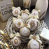 Елочные игрушки ручной работы. Ярмарка Мастеров - ручная работа Новогодние шарики елочные шарики на ёлку бархатные золото. Handmade.
