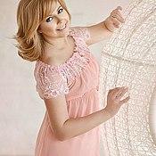 """Одежда ручной работы. Ярмарка Мастеров - ручная работа Пеньюар """"Розовый!"""" - короткий из розового шифона и кружева. Handmade."""