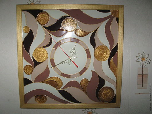 Часы для дома ручной работы. Ярмарка Мастеров - ручная работа. Купить Часы настенные Тирамису. Handmade. Стекло, авторская работа