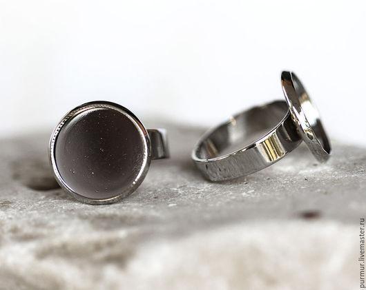 Для украшений ручной работы. Ярмарка Мастеров - ручная работа. Купить 1346_Круглая основа для кольца, Регулируемый размер, 14 мм. Handmade.