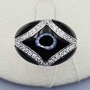 Украшения handmade. Livemaster - original item Silver ring with black onyx and cubic zirconia. Handmade.