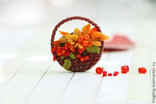 """Броши ручной работы. Ярмарка Мастеров - ручная работа. Купить """"Осень"""" брошь. Handmade. Рыжий, корзина плетеная, осень, брошь"""