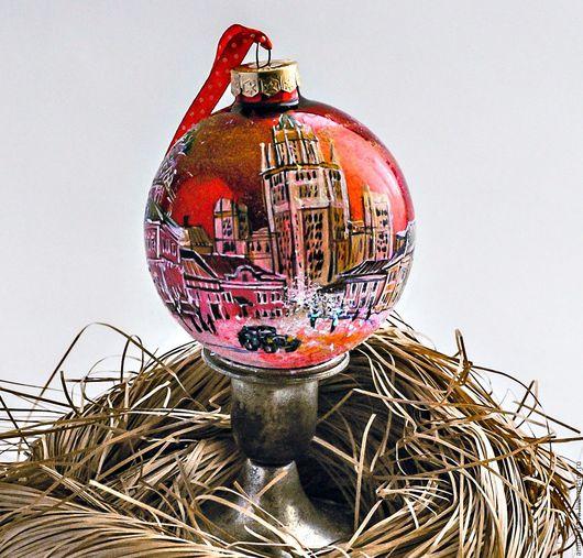Новый год 2017 ручной работы. Ярмарка Мастеров - ручная работа. Купить Таганка. Handmade. Ярко-красный, пейзаж, елочный шар