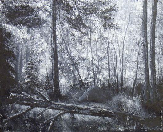 """Пейзаж ручной работы. Ярмарка Мастеров - ручная работа. Купить """"Муравейник в лесу"""" (холст/масло). Handmade. Чёрно-белый, картина в подарок"""