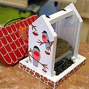 """Для дома и интерьера ручной работы. Ярмарка Мастеров - ручная работа Кормушка для птиц с дозировкой (""""Снегири"""") набор для сборки с красками. Handmade."""