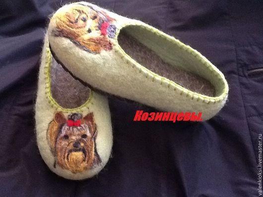 """Обувь ручной работы. Ярмарка Мастеров - ручная работа. Купить Тапочки """"Йорк"""". Handmade. Мятный, тапочки домашние, тапочки из войлока"""