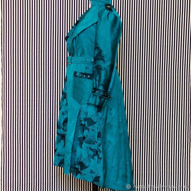 Cloak art Nouveau, fancy raincoat, designer raincoat, raincoat custom made, turquoise coat, coat zipper, coat, retro coat