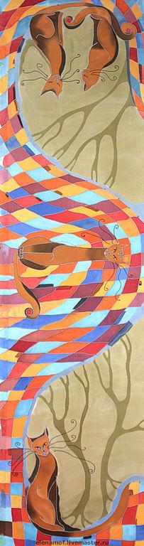Шарфы и шарфики ручной работы. Ярмарка Мастеров - ручная работа. Купить Шарф Песочные коты. Handmade. Шелк, натуральный шелк