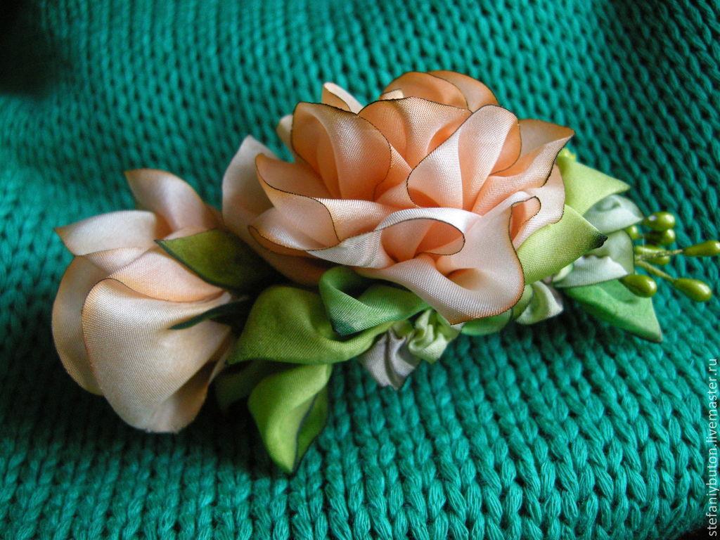 Цветы из шелковой ленты своими руками мастер класс