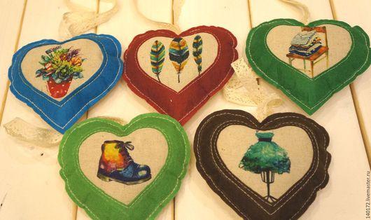 Подвески ручной работы. Ярмарка Мастеров - ручная работа. Купить Текстильные сердечки. Handmade. Комбинированный, текстиль