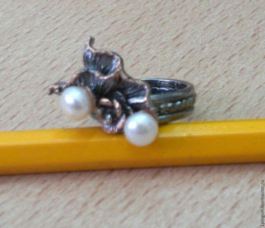 Винтажное серебряное кольцо с жемчугом