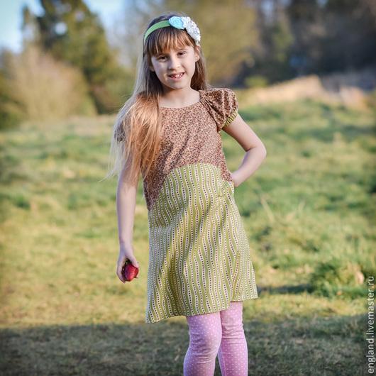 Одежда для девочек, ручной работы. Ярмарка Мастеров - ручная работа. Купить Платье для девочки ретро горошки  хлопок. Handmade. коричневый