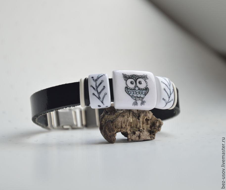 Leather bracelet mini regaliz 'Owl theme', Regaliz bracelet, Domodedovo,  Фото №1