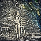 """Аксессуары ручной работы. Ярмарка Мастеров - ручная работа Зонт с рисунком """"Просто дождь"""" ручная роспись в подарок. Handmade."""