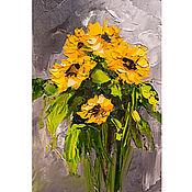 Картины и панно handmade. Livemaster - original item Oil painting flowers Bouquet of sunflowers. Handmade.