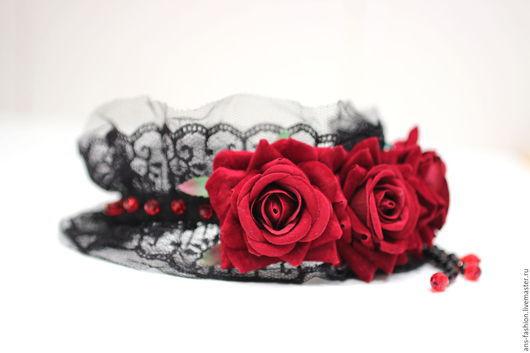 """Диадемы, обручи ручной работы. Ярмарка Мастеров - ручная работа. Купить Ободок """"Багровые сны"""" с бордовыми розами. Handmade. корона"""