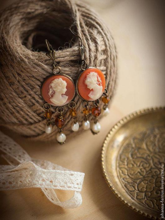 """Серьги ручной работы. Ярмарка Мастеров - ручная работа. Купить Винтажные серьги с камеями """"Элизабет"""". Handmade. Рыжий, винтажные серьги"""