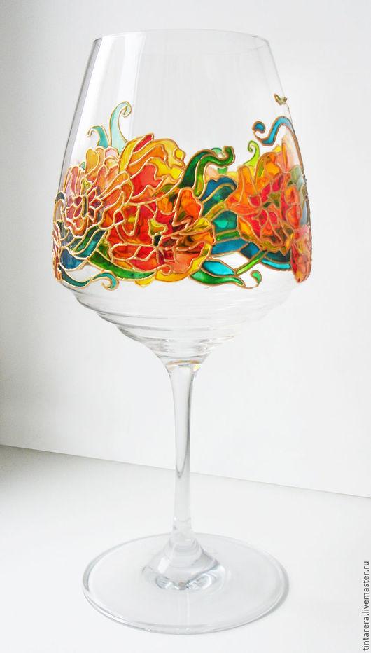 Бокалы, стаканы ручной работы. Ярмарка Мастеров - ручная работа. Купить 2 бокала с цветочным орнаментом. Handmade. Бокалы
