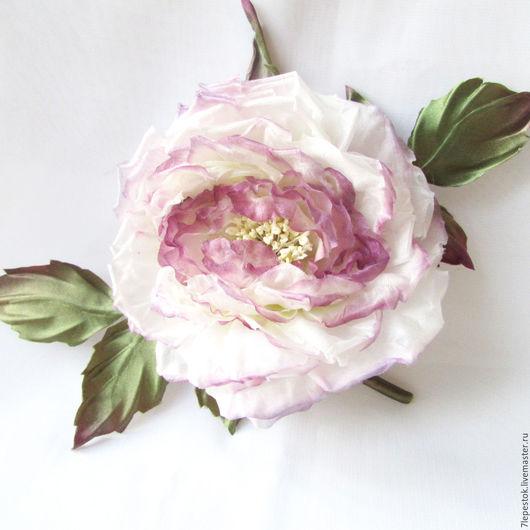 Брошь роза В сиреневых облаках.  Цветы из шелка. Елена (7 Lepestok).  Ярмарка мастеров.