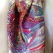 Одежда ручной работы. Ярмарка Мастеров - ручная работа Парео батик  Хамелеон, натуральный шелк. Handmade.