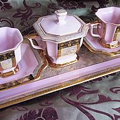 Винтаж handmade. Livemaster - original item COFFEE SERVICE TETE-A-TETE sugar bowl Pink porcelain CZECH Republic EXT. condition. Handmade.