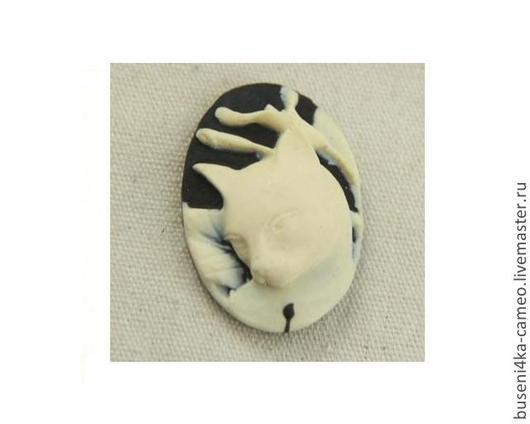 Для украшений ручной работы. Ярмарка Мастеров - ручная работа. Купить Камея Кошка кремовая 18х25мм (пластик) 1шт.. Handmade.