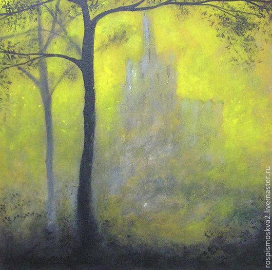 Пейзаж ручной работы. Ярмарка Мастеров - ручная работа. Купить Картина  Замок  в  горах   акрил 30Х30 пейзаж  деревья  дом синий. Handmade.