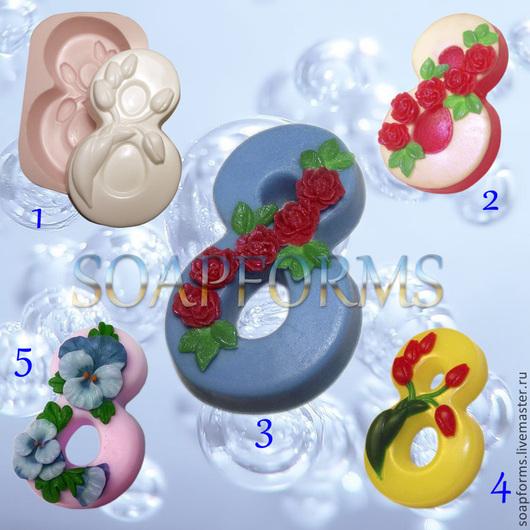 Силиконовая форма для мыла и свечей `8 марта 1, 2, 3, 4, 5`