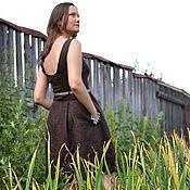 """Платья ручной работы. Ярмарка Мастеров - ручная работа Платье из льна """"Шоколад"""". Handmade."""