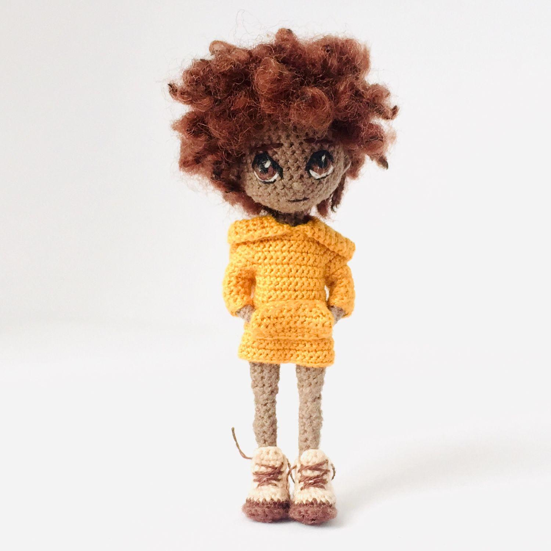 Miniature black doll in orange dress, Miniature figurines, Moscow,  Фото №1