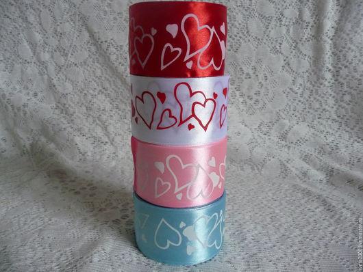 Аппликации, вставки, отделка ручной работы. Ярмарка Мастеров - ручная работа. Купить Ленты атласные 5см (сердечки). Handmade. Разноцветный