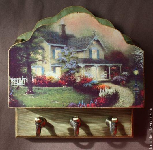 """Прихожая ручной работы. Ярмарка Мастеров - ручная работа. Купить Ключница """"Домик с окнами в сад"""". Handmade. Зеленый"""