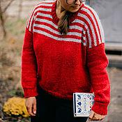 Джемперы ручной работы. Ярмарка Мастеров - ручная работа Яркий свитер - Гранат. Handmade.