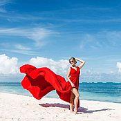 Одежда ручной работы. Ярмарка Мастеров - ручная работа Платье-трансформер Красное со шлейфом 3 метра. Handmade.