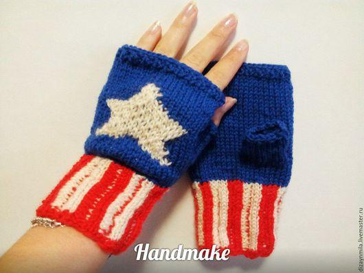 Варежки, митенки, перчатки ручной работы. Ярмарка Мастеров - ручная работа. Купить Митенки Капитан Америка. Handmade. Комбинированный, мстители