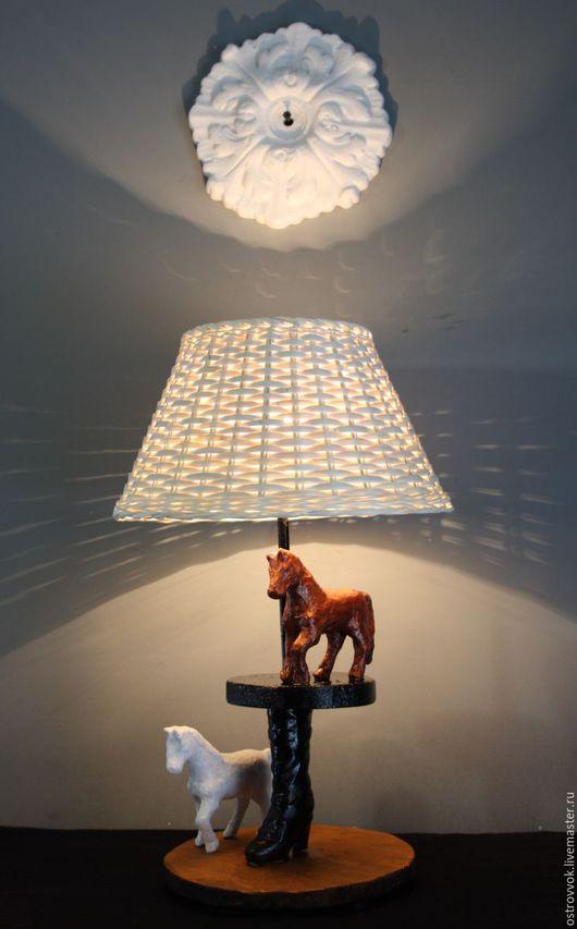"""Освещение ручной работы. Ярмарка Мастеров - ручная работа. Купить """"Лошади"""". Handmade. Белый, светильник для бара, лампа настольная, ночь"""