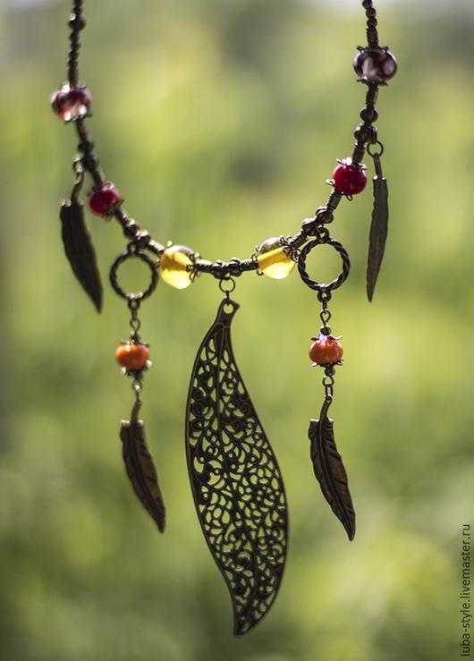 Колье, бусы ручной работы. Ярмарка Мастеров - ручная работа. Купить Колье Лесной сказ. Handmade. Рыжий, фольклорный стиль