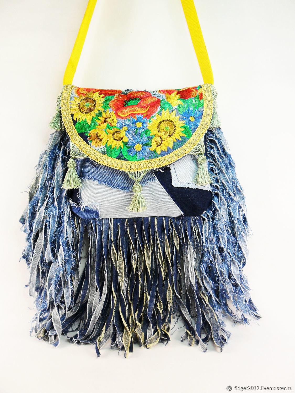 Denim bag with embroidery and fringe Boho bag Hippie style, Messenger Bag, Bakhmut,  Фото №1